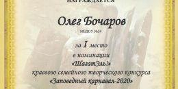 Диплом 1 место Бочаров Олегстолбы