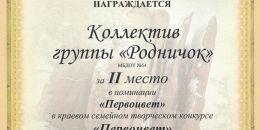 Диплом 2 место коллектив группы Родничок