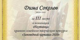 Диплом 3 место Соколов Дима столбы